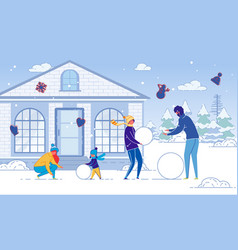 Family winter christmas holidays outdoor activity vector