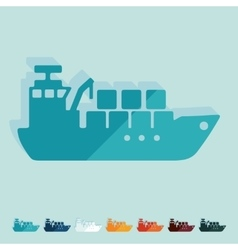 Flat design cargo ship vector