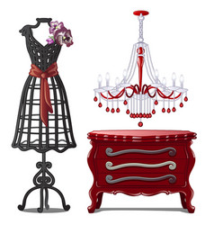 Floor hangers chandeliers and chest of drawers vector