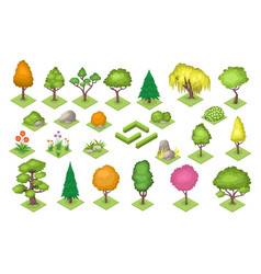 forest or park decoration elements tree bush vector image