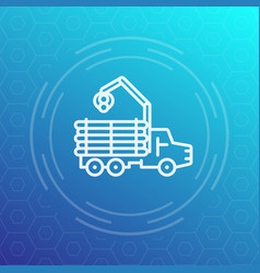 forwarder logger logging truck line icon vector image