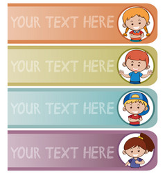 Four banner templates with happy kids vector