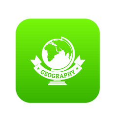 geography icon green vector image
