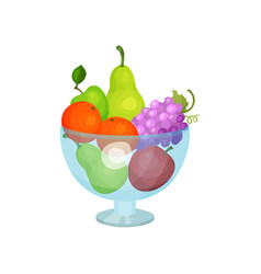 Glass bowl with fresh fruits sweet pears apples vector