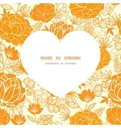 Golden art flowers heart silhouette pattern vector