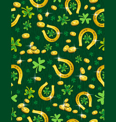 green patricks day background with golden vector image