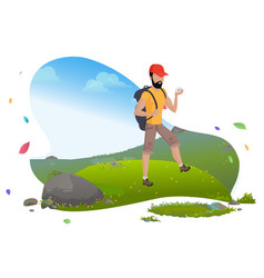 guy in mountains hiker or backpacker tourist vector image