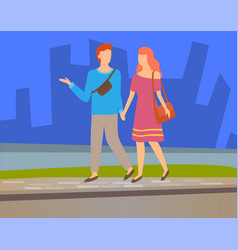 happy couple walking together near skyscrapers vector image