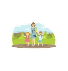 happy family travelling mother son and daughter vector image