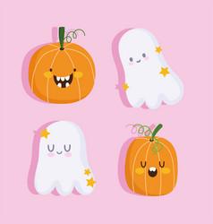 happy halloween funny ghosts and pumpkins cartoon vector image