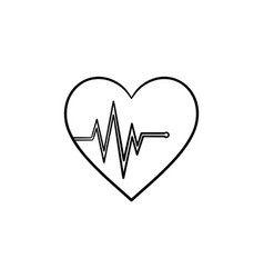 Heart beat rate hand drawn outline doodle icon vector