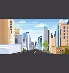 Highway asphalt road city skyline modern buildings vector