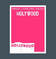 hollywood usa monument landmark brochure flat vector image
