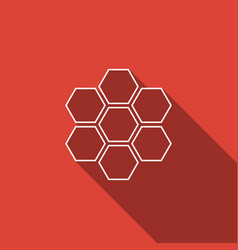 honeycomb sign icon isolated with long shadow vector image