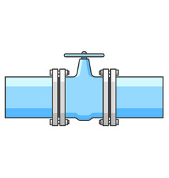 icon connecting pipes with a separating valve vector image