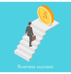 Isometric concept of businessman climbing the vector image