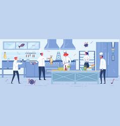 kitchen staff working environment background vector image