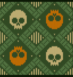 Knitted woolen seamless pattern with skulls in vector