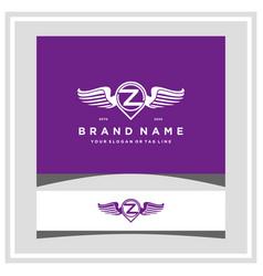 Letter z pin map wing logo design concept vector