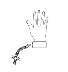 Line cute hand with metalic chain vector