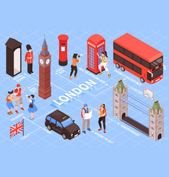 london isometric flowchart vector image