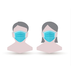 man and woman in medical face protection mask vector image