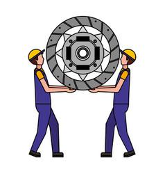 Mechanics lifting clutch plate engine part vector