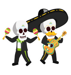 mexican skulls mariachis playing guitar and vector image