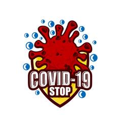 Modern covid-19 coronavirus logo vector
