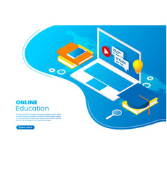 modern isometric online education concept vector image