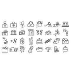 Money laundering offshore icons set outline style vector