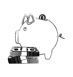monochrome sketch of money box in shape of piggy vector image