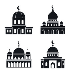 Mosque islam icons set simple style vector