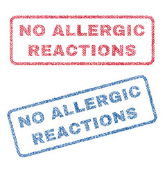 No allergic reactions textile stamps vector