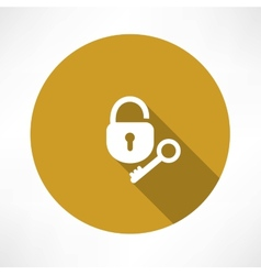 open lock with a key icon vector image