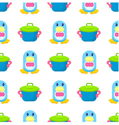 penguin in bowtie and toy pot seamless pattern vector image
