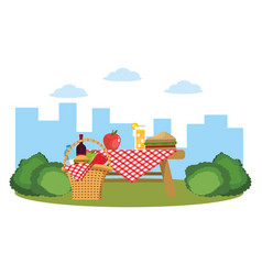 picnic on park vector image