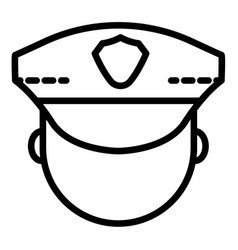 police man face icon outline style vector image