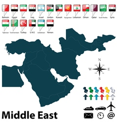Political map middle east vector