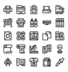 Printer and plotter outline icons vector