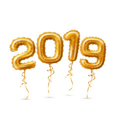 realistic 2019 golden air balloons new year vector image