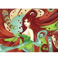 Red haired girl on candy background vector