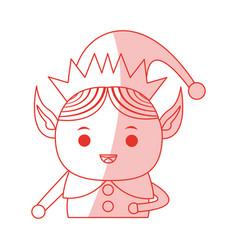 red shading silhouette cartoon half body christmas vector image