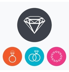 Rings icons Jewelry with diamond signs vector image