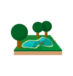 River in a summer forest cartoon icon vector image