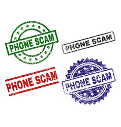 scratched textured phone scam seal stamps vector image