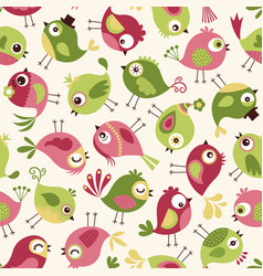 seamless cute cartoon birds pattern background wal vector image