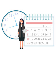 secretary with document and calendar time clock vector image