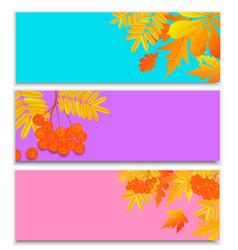 set horizontal autumn banners for seasonal vector image