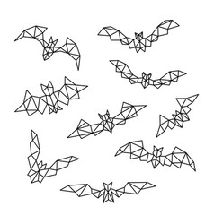 set of polygonal bats geometric bat vector image